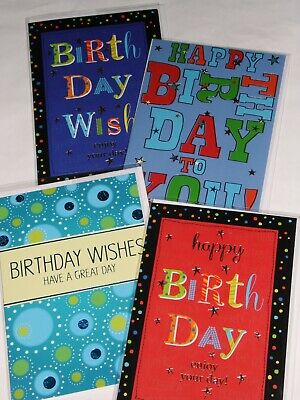 JUST 35p MALE 'WORDS' BIRTHDAY CARDS X 36, 6 DESIGNS X 6, WRAPPED, FOILED