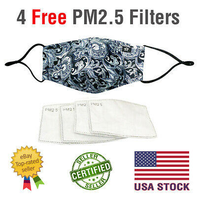 FACE MASK Washable COTTON BLACK WHITE PAISLEY Nose Wire Pocket for PM2.5 Filter