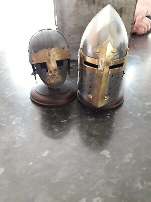 Decorative Medieval Helmets On Wooden Stands X 2