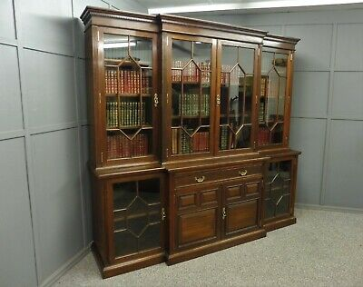Large Antique 19Th Century Walnut Library Bookcase By Maple And Co