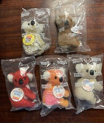 Complete Set Of 5 Dunkin Donuts Coolatta Bear Bears NEW With Tags In Bag
