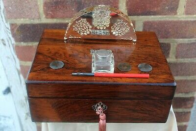 NEAT c 1860 ROSEWOOD WITH MOP INLAY WRITING SLOPE BOX LAP DESK INK WELL DIP PEN.