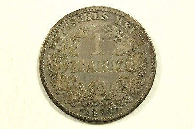 One 1878 J   German  1 Mark  90% Silver Kp#7  Average   Circulated Condition