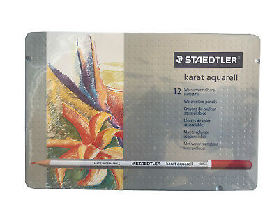 Staedtler - Karat Aquarell Watercolour Pencils - Assorted Colours - Tin of 12