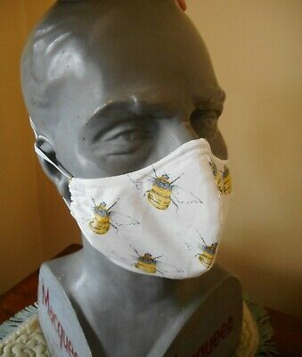 COTTON FACE MASKS WITH FILTER, HAND-MADE IN THE UK, designer fabric - bees