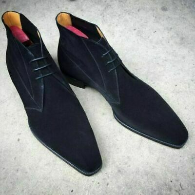 New Men's Handmade Navy Blue Chukka Boots, Men's Lace Up Suede Boots