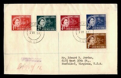 Dr Who 1953 South West Africa Windhoek To Usa Multi Franked Registered C188389