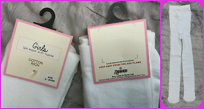COSY age 11-12 yrs Girls White Super-Soft warm Cotton rich Tights bnwt EX-STORE