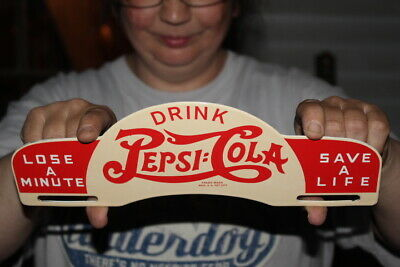 Pepsi Cola Soda Pop Gas Oil Porcelain Metal License Plate Topper Sign