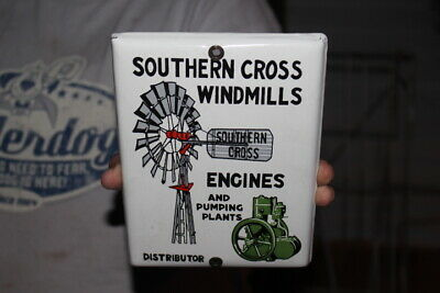 Southern Cross Windmills & Farm Engines Gas Oil Porcelain Metal Sign