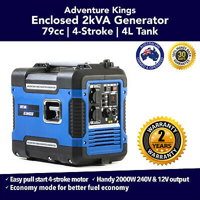 New 2kVA Inverter Generator Closed Case Pure Sine Wave Portable Camping Outdoor