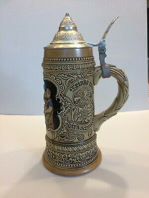 Vintage Ceramarte Beer Stein Tall Dinking Mug with bar scene &Lid Made In Brazil