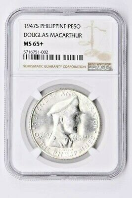 1947S The Philippines 1 Peso NGC MS 65+, DOUGLAS MACARTHUR Witter Coin