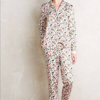 Anthropologie Eloise Sweetest Dreams Satin floral pajamas top and pants XS