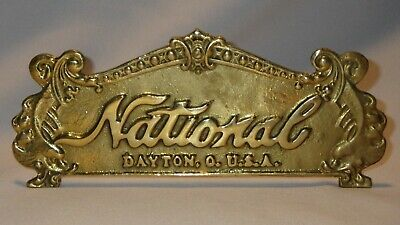 Ornate Brass Cash Register Topper NATIONAL & THANK YOU Double Sided Sign