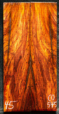 """Cocobolo #545 Rosewood Knife Scales 8""""x 1.9""""x 7/16"""" note cracks"""
