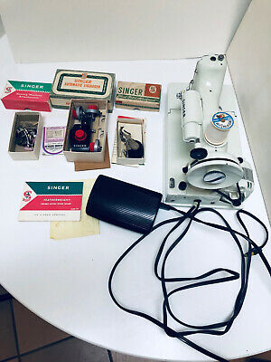 Vintage White/Light Green Singer 221K Featherweight Sewing Machine & Accessories