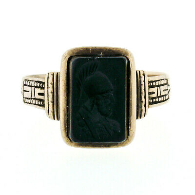 Antique Victorian 10K Gold Intaglio Black Onyx Carved Etched Work Solitaire Ring