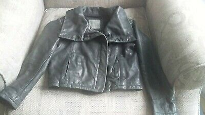 Girls All Saints Real Leather Black Jacket Age Approx 4/5/6