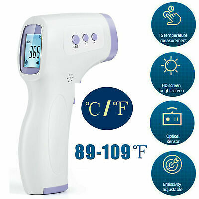Digital LCD Infrared Thermometer Head Forehead No contact Thermometer Kids US