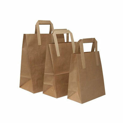Brown Kraft Paper Bags SOS Gift bags With Flat Handle Easy Carry Heavy Duty Bags