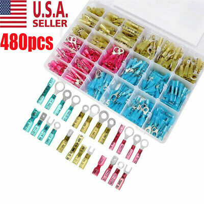 480pcs HEAT SHRINK WIRE CONNECTOR ASSORTMENT AUTOMOTIVE MARINE KIT Made In USA
