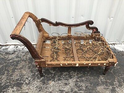 """Rare Victorian Carved Walnut Child's Chaise Lounge Fainting Sofa 27"""" X 46"""" X 22"""""""