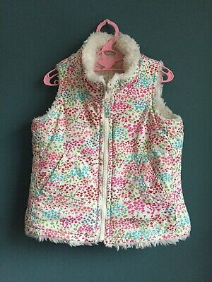 Girls Baby Gap Reversible Gilet Bodywarmer Age 3 Years Pink/White Floral/Fluffy