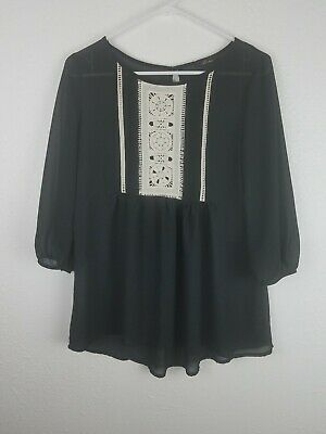 MONTEAU Womens Black Semi Sheer Top SZM Crochet 3/4 Sleeves Baby Doll A4