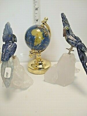 beautiful Hand-carved Brazilian 2  STONE BIRDS and globe made from Clear Quartz