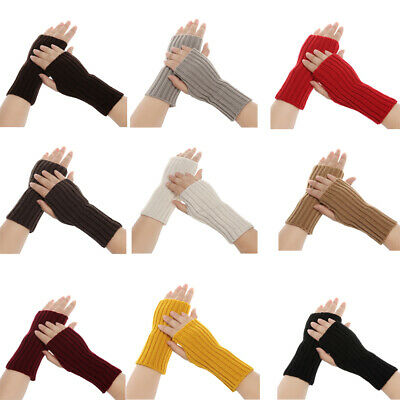 Warm Winter Soft Arm Warmers Long Knitted Gloves Fingerless Mittens Candy Color