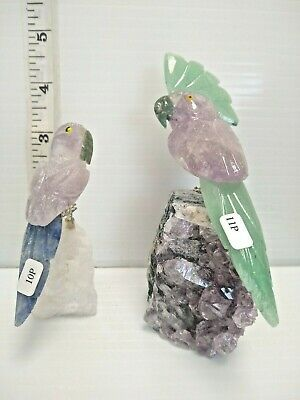 2 Hand-carved Brazilian STONE BIRD made from amethyst and various ot