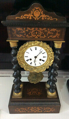 Good Empire Period Marquetry Inlaid Portico Clock In Good Working Order