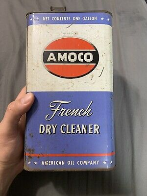 Vintage Amoco One Gallon Rare French Dry Cleaner American Baltimore NY Oil Can