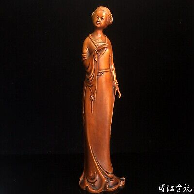 Collectable China Old Boxwood Hand-Carved Elegant Ancient Beauty Decorate Statue
