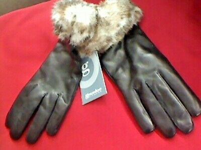 NEW Ladies Grandoe Leather Gloves Fur Cuff Size Large