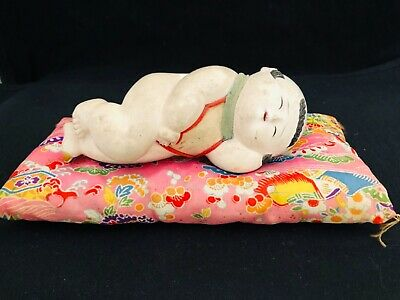 Antique Japanese Gosho Doll Ningyo Edo Era Palace Doll Sleeping Baby On Pillow