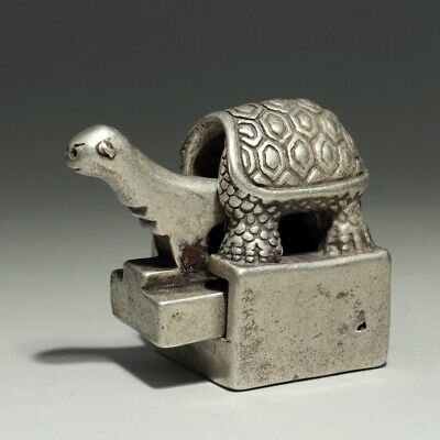 Collectable China Old Miao Silver Hand-Carved Tortoise Double-Deck Seal Statue