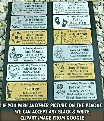 "Memorial Bench Plaque Personalised 5"" X 2"" - 3 Colours & 12 Designs Or Own Image"
