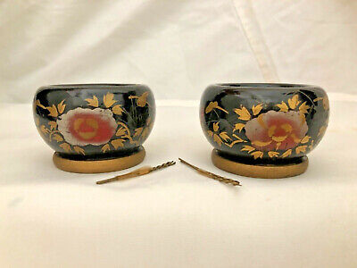Antique Japanese Hina Doll Furniture Pair Wood Lacquered Hibachis/Bowls