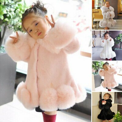 Girls Children Faux Fur Fluffy Thick Winter Coat Leisure Long Jacket Overcoat