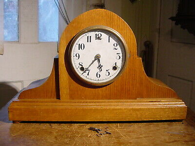 Antique William Gilbert 1903 Oak 8 Day Tambour Shelf Or Mantel Clock Working
