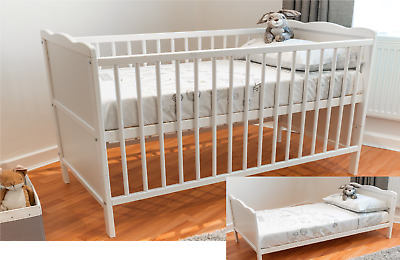 White FULL SIZE Cot Bed 140 x 70cm & Cotbed Mattress, Converts into a Junior Bed