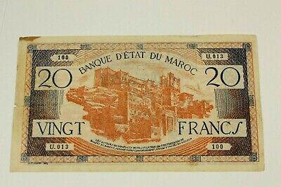 One 1943 Morocco 20 Franc Note Kp# 39 In Nice Circulated Condition