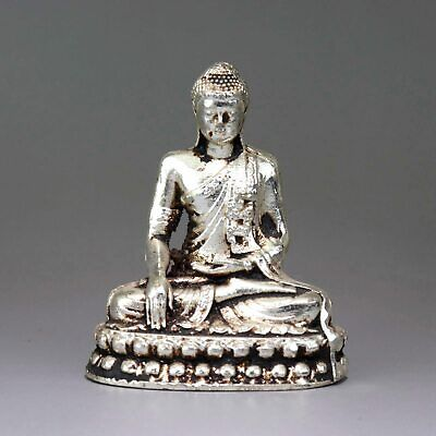 Collectable China Old Miao Silver Hand-Craved Buddha Delicate Buddhism Statue