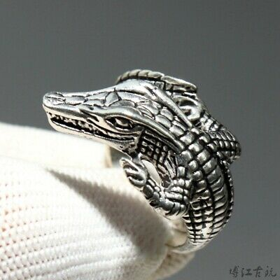 Collect China Old Miao Silver Hand-Carved Fierce Crocodile Delicate Decor Ring