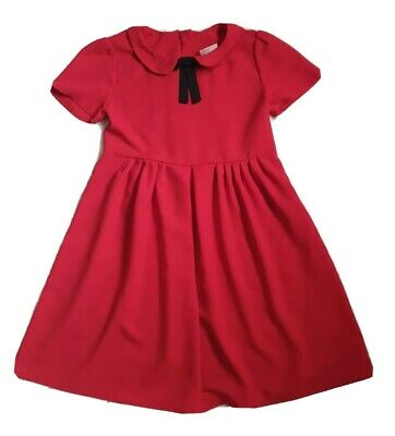 NEXT girls cute Red with black bow Vintage Look Collard Party Dress Age 9