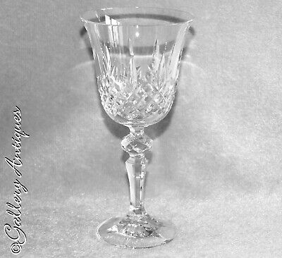 Vintage Crystal Glass Wine or Water Goblet Multisided Stem Possibly by RCR 1970s