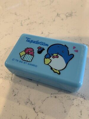 RARE Retro Vintage Tuxedo Sam Small Plastic Pill Box Sanrio Japan