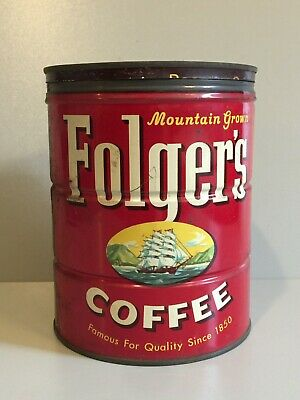 Vintage 1959 Folgers Coffee 2 Lb Tin Can With Lid Key Wind Ship Picture